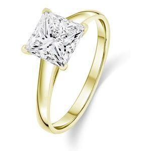 14k Gold Solitair Princess Cut Ring